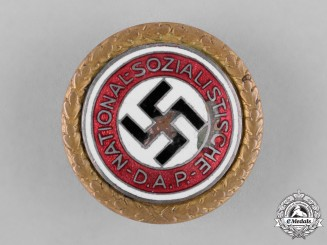 Germany, NSDAP. A Golden Party Badge, Awarded to Karl Wilhelm Bauer, by Deschler & Sohn, c.1933