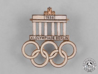Germany, Third Reich. A 1936 Berlin Olympics Commemorative Badge by Hermann Aurich
