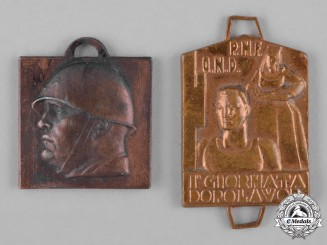 Italy, Kingdom. Two Fascist Badges, c.1935