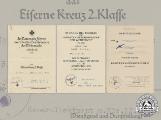Germany, Heer. A Collection Of Award Documents To Panzer Reconnaissance Leutnant Gerhard Renner