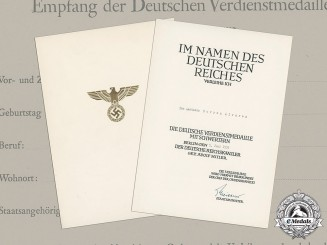Germany, Wehrmacht. An Eagle Medal of Merit with Swords Document to Don Aastasio Correa Alvarez, c.1939
