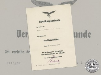 Germany, Luftwaffe. A Rare Glider Pilot Badge Award Document to Flieger Richard Schelp, c.1941