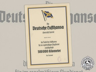 Germany, Lufthansa. A Lufthansa 500,000 Kilometer Flight Achievement Certificate to Erhard Milch