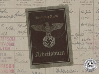 Germany, NSDAP. A Labour Book To Anna Withalm, 1939-1948
