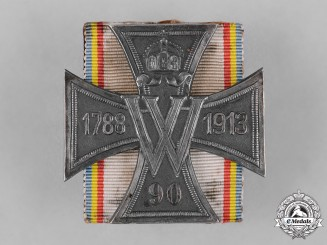 Mecklenburg-Schwerin, Grand Duchy. A Cross for the 125th Anniversary of 90th Fusiliers Regiment of Kaiser Wilhelm