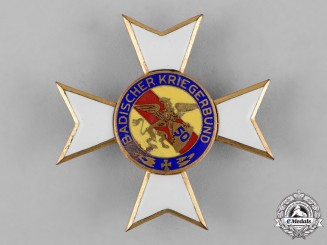 Germany, Weimar. A I Class Cross of Honour of the Baden Warrior's League with 50th Anniversary Badge
