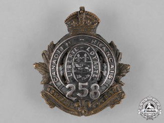 Canada. A 258th Infantry Battalion Officer's Cap Badge
