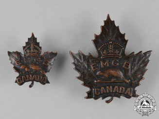 Canada. An Eaton Motor Machine Gun Battery Cap Badge & Collar Tab