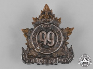 "Canada. A 99th Infantry Battalion ""Essex Battalion"" Officer's Cap Badge"