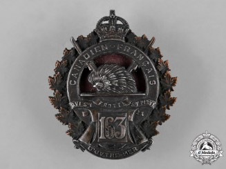 "Canada. A 163rd Infantry Battalion ""Canadiens Francais"" Officer's Cap Badge, c.1915"