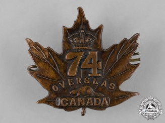 Canada. A 74th Infantry Battalion Cap Badge, by P.W.Ellis, c.1915