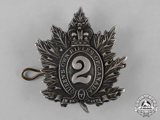 Canada. A Pre First War Queen's Own Rifles of Canada Officer's Cap Badge