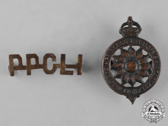 Canada. A Princess Patricia's Canadian Light Infantry Cap Badge & Shoulder Title, c.1914