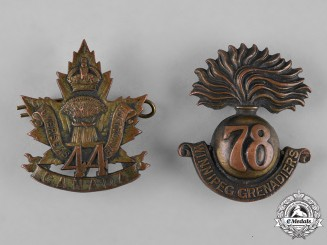Canada. A 44th & 78th Infantry Battalion Cap Badges