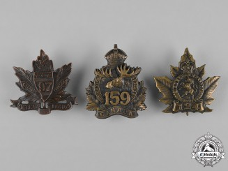 Canada. A 97th, 124th and 159th Infantry Battalion Cap Badges