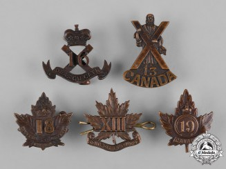 Canada. A Lot of Five First War Battalion Collar Badges