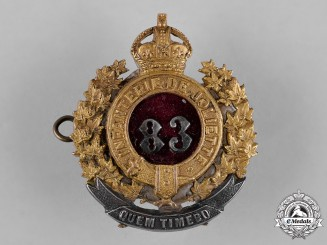 Canada. An 83rd Joliette Regiment (Le Régiment de Joliette) Officer's Cap Badge, c.1914