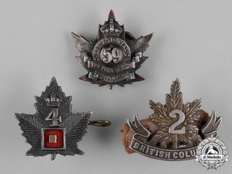 Canada. A Lot of Three First War Battalion Officer's Collar Badges