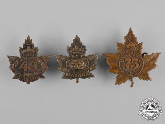 Canada. A Lot of Three First War Battalion Cap Badges