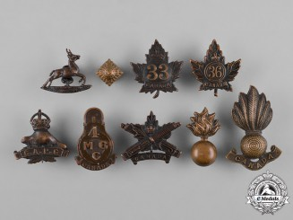 Canada. A Lot of Eight First War Battalion Collar Badges & Insignia