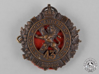 "Canada. First War 43rd Infantry Battalion ""Cameron Highlanders"" Glengarry Badge"