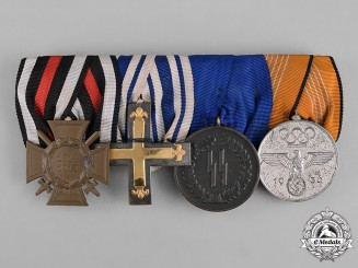 Germany, Third Reich. An SS Long Service Medal Bar