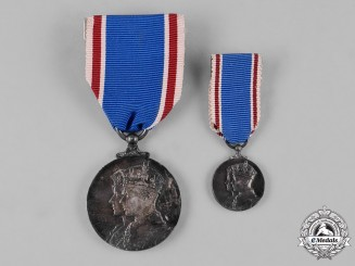 United Kingdom. A King George VI and Queen Elizabeth Coronation Medal 1937, Fullsize and Miniature