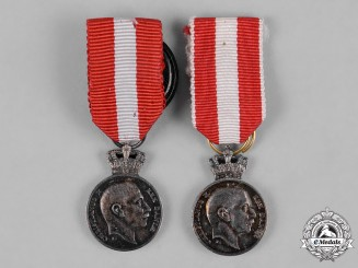 Denmark, Kingdom. Two Miniature King Christian X's Medal