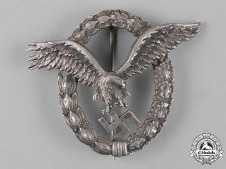 Germany, Luftwaffe. An Early Field Repaired Pilot's Badge, by C.E. Juncker
