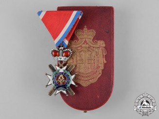 Serbia, Kingdom. An Order of the Cross of Takovo, IV Class Officer in Case, by Rothe, c.1900