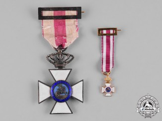 Spain, Kingdom. A Military Order of St. Hermenegildo, Gold Cross with Miniature c.1930