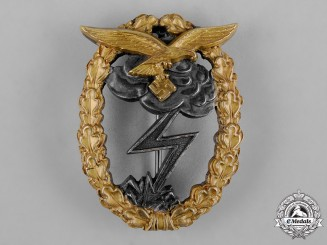 Germany, Luftwaffe. A Rare Gilded Ground Assault Badge by C.E. Juncker
