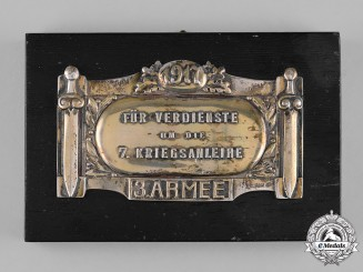 Germany, Imperial. A 3rd Army Plaque for Service to the 7th War Bond