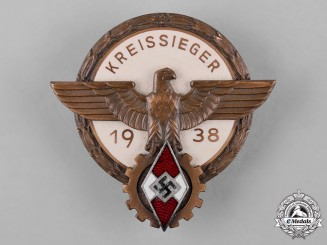 Germany, HJ. A 1938 National Trade Competition Victor's Badge by Gustav Brehmer