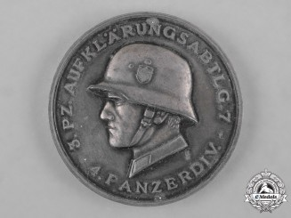 Germany, Heer. A 1941 Armoured Reconnaissance Battalion 7 Medallion by Deschler & Sohn