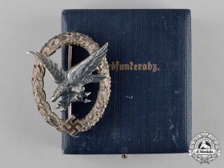 Germany, Luftwaffe. A Radio Operator Badge, with Case, by Wilhelm Deumer