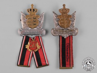 Germany, Imperial. A Pair of Württemberg Warrior Association Membership Badges by Adolf Schwerdt