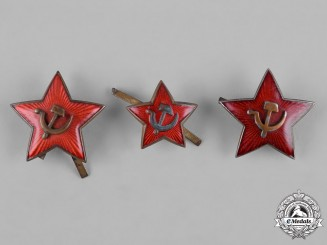 Russia, Soviet Union. Three Soviet Army Cap Badges