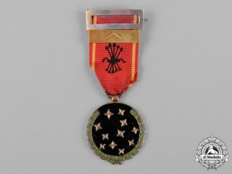 Spain, Civil War. An Old Guard Medal for Falange Members, First Line, Named and Dated, c.1945