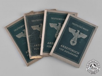 Germany, Third Reich. A Lot of Four German Labour Books for Foreigners, c.1944