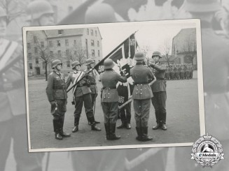 Germany. A Wartime Photo of Heer Soldiers Taking Oath in front of Regimental Standard