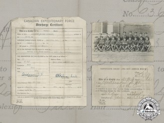 Canada. A Twice Enlisted Soldier's Discharge Certificate and War Service Badge Certificates