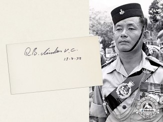 A Signature of Victoria Cross Recipient Rambahadur Limbu, VC, MVO, 2nd Battalion, 10th Princess Mary's Own Gurkha Rifles for Actions in Sarawak, Borneo 1965
