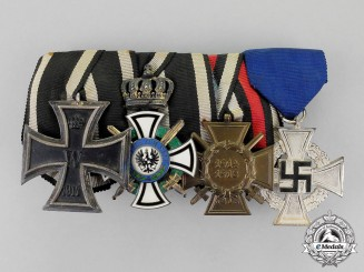 Prussia. A First and Second War House Order of Hohenzollern Medal Bar Grouping