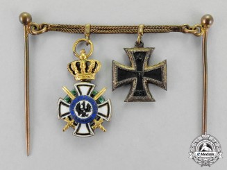 Prussia. A House Order of Hohenzollern and Iron Cross 1914 Miniature Chain Group