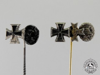 Germany. Two First and Second War Miniature Award Stick Pins