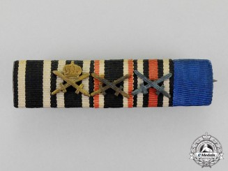 Prussia. A First and Second War House Order of Hohenzollern Medal Ribbon Bar