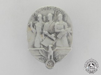 Germany, Third Reich. A 1935 National Day of Labour Badge by Hillenbrand & Brör