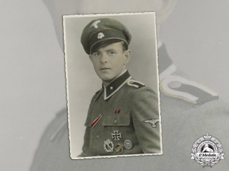 Germany. A Wartime Photo of an SS Recon Unterscharführer with Iron Cross 1st Class