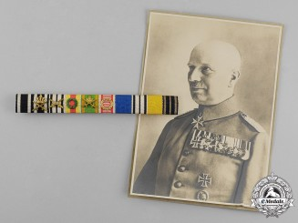 Prussia. A Ribbon Bar of Pour-le-Merite Recipient Major Fritz Wulf